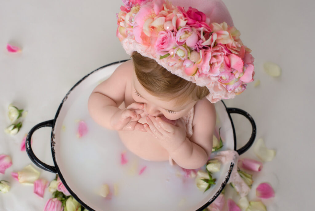milk bath poses